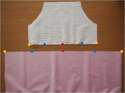 スカートと裏地に印をつける